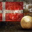 Grunge flag on the wall and ball — Stock Photo