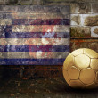 Grunge flag on the wall and ball — Stock Photo #6352487