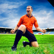 Happiness football player after goal on the field of stadium wit — Stock Photo #6352779
