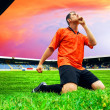 Happiness football player after goal on the field of stadium wit — Stock Photo #6352812