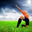 Happiness football player after goal on the field of stadium wit — Stock Photo #6352829