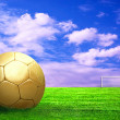 Royalty-Free Stock Photo: Soccer ball on green grass and sky background