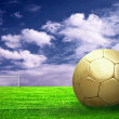 Soccer ball on green grass and sky background — Stock Photo #6352987