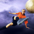 Shoot of football player on the sky with clouds - Lizenzfreies Foto