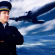 Pilot and military airplan on the speed — Stockfoto