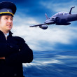 Pilot and military airplan on the speed — Stock Photo