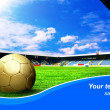 Ball on the field of stadium with blue sky and sample text — Stockfoto