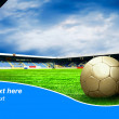 Ball on the field of stadium with blue sky and sample text - Stock fotografie