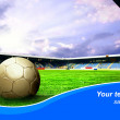 Ball on the field of stadium with blue sky and sample text — Stock Photo #6353437