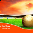 Stock Photo: Ball on the field of stadium with blue sky and sample text