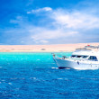 Side view of motor yacht under way out at sea — Stock Photo