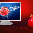 Fresh fruits in water on lcd monitor — Stock Photo