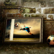 Abstract image of football player on the grunge background — ストック写真