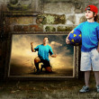 Abstract image of football player on the grunge background — Stock Photo #6353874