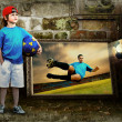 Stock Photo: Abstract image of football player on grunge background
