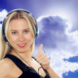 Happiness businesswoman speak in headphones — Stock Photo
