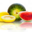 Stock Photo: Beautiful isolated watermelon and yellow melon on white backgrou
