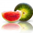 Beautiful isolated watermelon on white background - Stock Photo