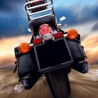 Foto Stock: Motorcycle outdoor on speed