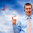 Businessman with card — Foto de Stock