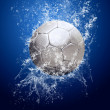 Drops around soccer ball under water — Stockfoto