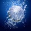 Drops around soccer ball under water — Stock Photo