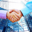 Foto Stock: Shaking hands of two business