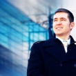 Happiness businessman on the business architecture background — ストック写真