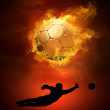 Stock Photo: Hot soccer ball on speed in fires flame