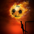 Hot soccer ball on the speed in fires flame — Stock Photo #6354720