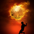 Hot soccer ball on the speed in fires flame — Stockfoto