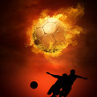 Hot soccer ball on the speed in fires flame — Stok fotoğraf