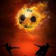 Hot soccer ball on the speed in fires flame — Stock Photo #6354728