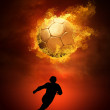 Hot soccer ball on the speed in fires flame — Stock Photo #6354731