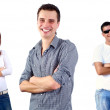 Beautiful smiling group of young standing, white backgrou — Stock Photo #6354809