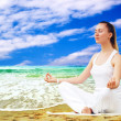 Young beautiful women in white, relaxation on the sunny tropical — Stock Photo #6354886