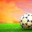 Stock Photo: Soccer ball on green grass and sky background