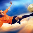 Shoot of football player on the sky with clouds — ストック写真