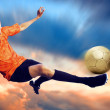 Shoot of football player on the sky with clouds — Foto de Stock