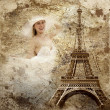 Vintage view of Paris on the grunge background — Stock Photo #6355224