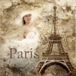 Vintage view of Paris on the grunge background — Stock Photo #6355226