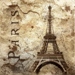 Vintage view of Paris on grunge background — Stock Photo #6355233