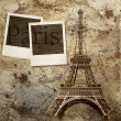 Vintage view of Paris on the grunge background — Stock Photo #6355238