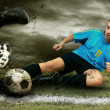 Stock Photo: Soccer players on the field