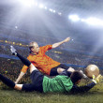 Football player on field of stadium — Stock Photo #6355376