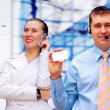 Happy businessman and a woman - Stock Photo