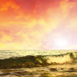 Beautiful sea nature landscape on the sunrise sky — Stock Photo #6355866
