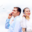 Happy businessman and a woman — Stock Photo #6355981