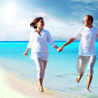 View of happy young couple walking on the beach, holding hands. — Stock Photo #6356323