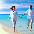 View of happy young couple walking on the beach, holding hands. — Stock Photo #6356328